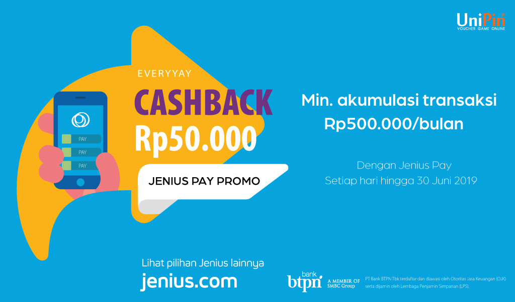 Everyay Cashback Rp 50.000 With Jenius Pay