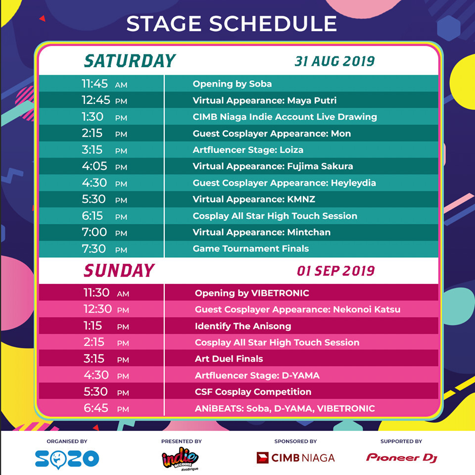 CSF19 SBY Stage Schedule