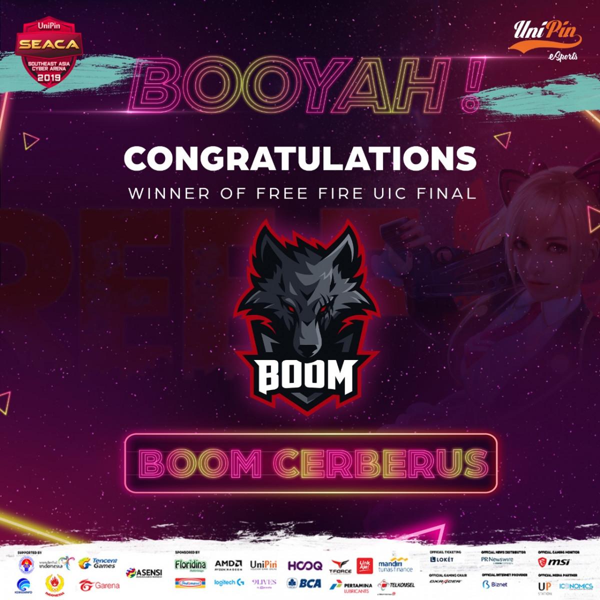 Booyah! BOOM Cerberus Menjadi Juara UIC Free Fire di SEACA 2019!