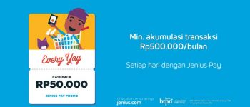 Everyay Cashback Rp 50.000 Top Up dengan Jenius Pay – [Januari]