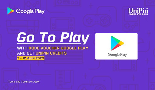 Go To Play, Top Up Kode Voucher Google Play Dapat UniPin Credits total 3 juta!
