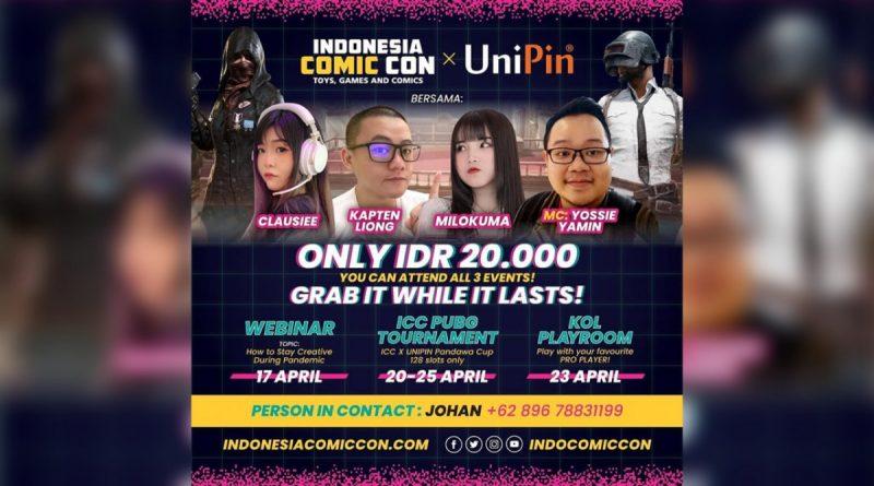 Gandeng UniPin, Indonesia Comic Con Hadirkan Tiga Event Gaming