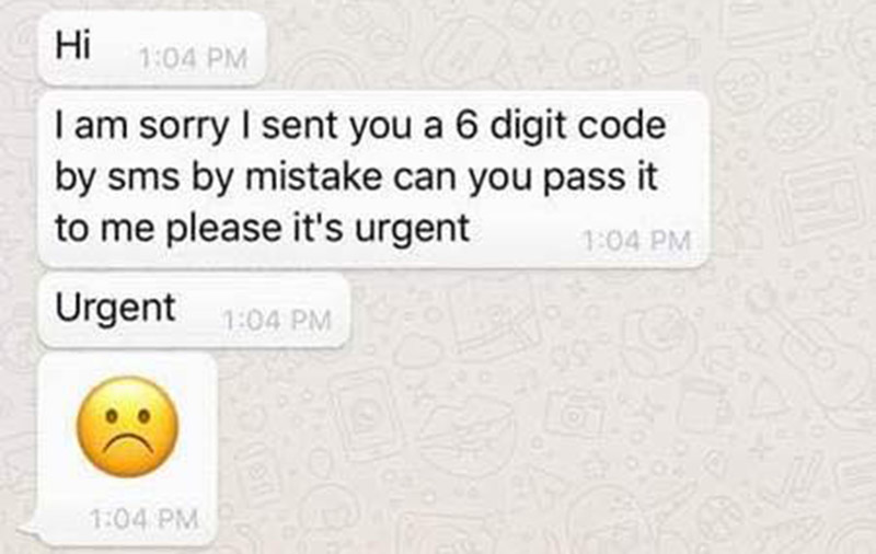 SPF: Don't give your WhatsApp verification code to anyone if you don't want to lose access to your account